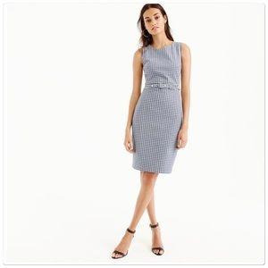 Jcrew belted gingham sheath dress